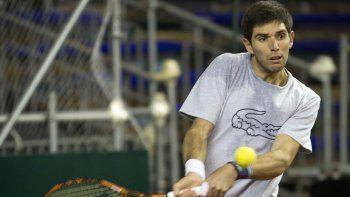 Leonardo Mayer, el líder de este equipo argentino de Copa Davis, en el entrenamiento de ayer.