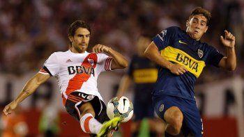 Leonardo Ponzio y Cristian Erbes, protagonistas esta tarde de un nuevo superclásico del fútbol argentino.