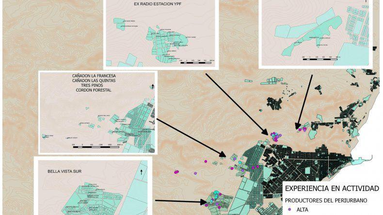 El mapa creado por José Luis Gorbach sobre las zonas de emprendimientos agrícolas en Comodoro Rivadavia.