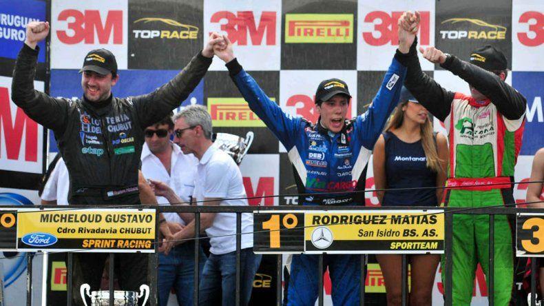 El podio de la Top Race V6 ayer en el autódromo de Junín