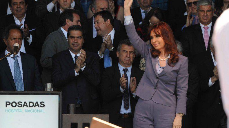 La presidente Cristina Fernández de Kirchner en un acto en el Hospital Posadas.
