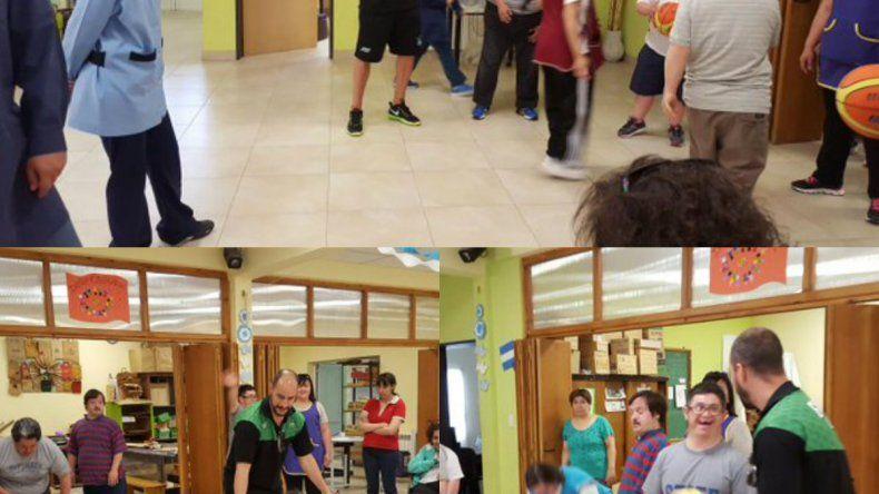 Los jugadores de Gimnasia visitaron la Asociación Nosotros También