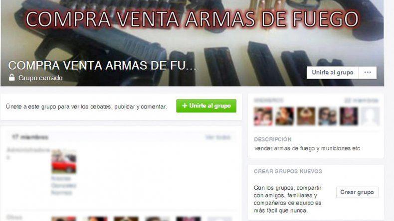 Una de las páginas de Facebook creadas en Comodoro Rivadavia para la compra-venta de armas.