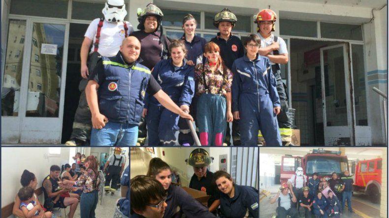 Los Bomberos Voluntarios visitaron a los nenes del Regional