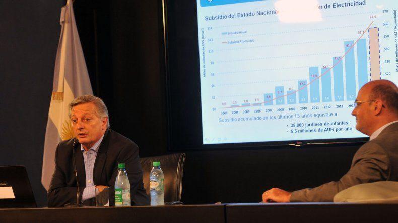 Juan José Aranguren en la conferencia de ayer donde explicó alcances del tarifazo eléctrico.