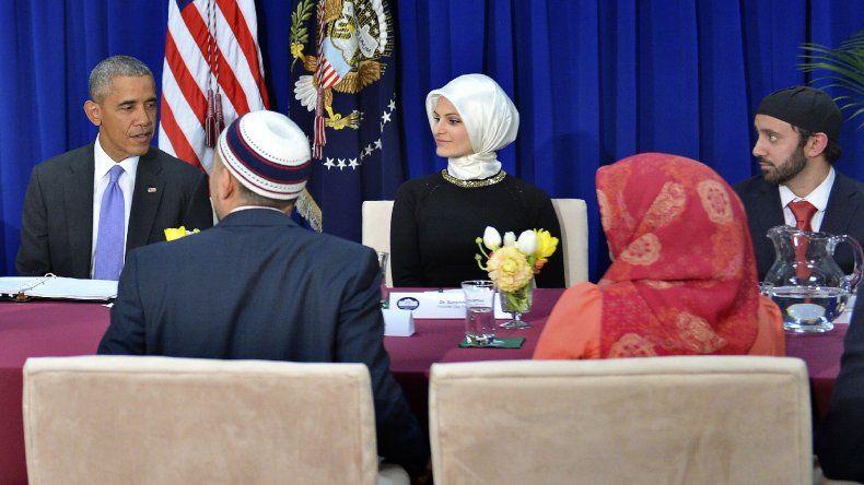 Barack Obama durante su visita a una mezquita en Baltimore.