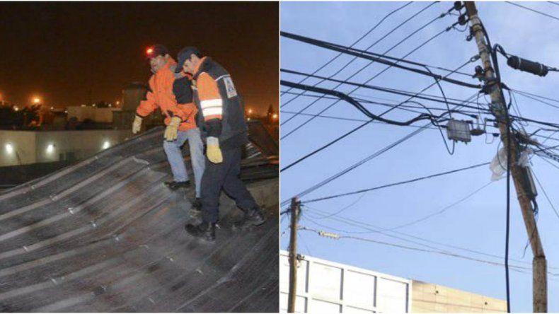 Las ráfagas alcanzaron los 100 km/h: se voló un techo y se cortaron cables