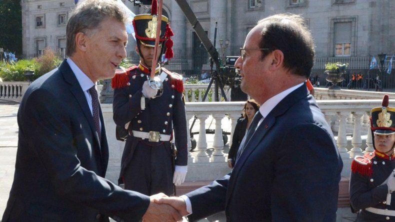 Macri recibió a Hollande en la Casa Rosada.