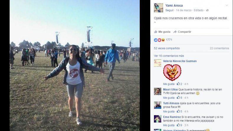 Se enamoró en el recital del Indio y ahora lo busca por Facebook