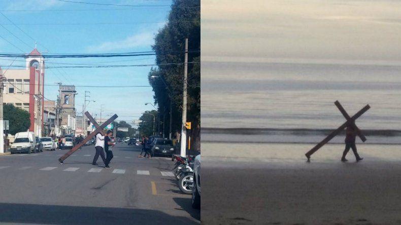 Cargó su propia cruz por las calles y la playa