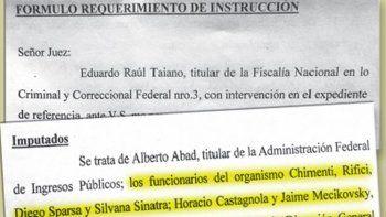 El requerimiento en el que el fiscal Taiano pidió que se investigue a la cúpula de la AFIP.