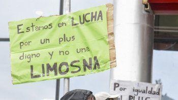 Ayer los trabajadores nucleados en el Sindicato de Seguridad Privada de la República Argentina se manifestaron por la actualización de un plus.