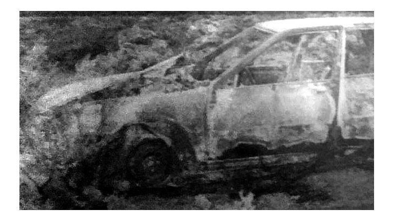El auto en el que los asaltantes se movilizaban