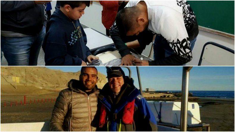 Gabriel Mercado visitó una escuela y realizó avistaje de ballenas