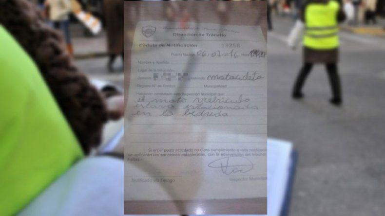 Insólita multa de tránsito en Puerto Madryn