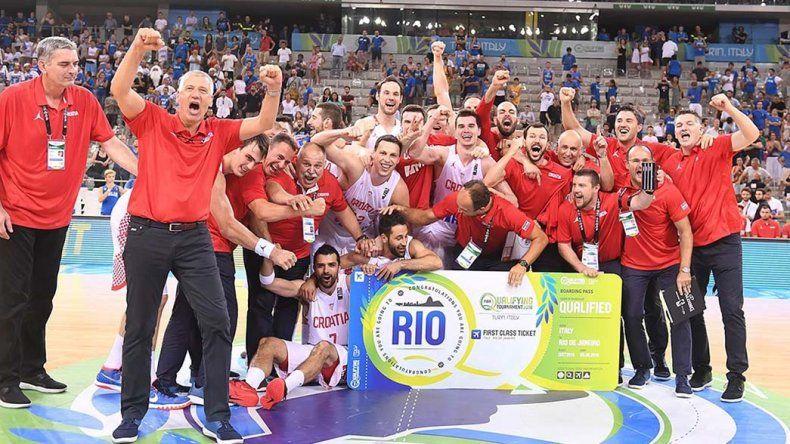 La selección de Croacia festeja su clasificación para los Juegos Olímpicos de Río.