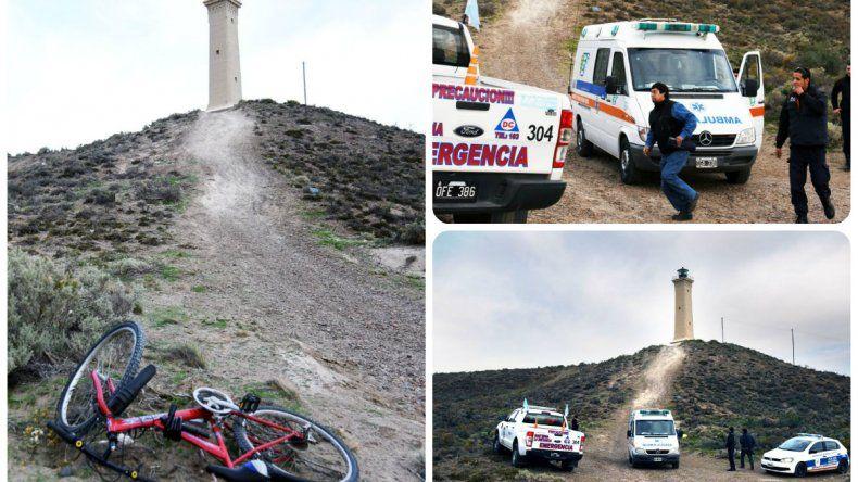 Un ciclista se cayó en el cerro del faro y sufrió traumatismo de cráneo