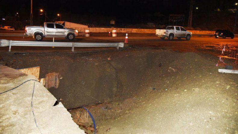 Se formó un cráter en la obra del canal evacuador Quintana