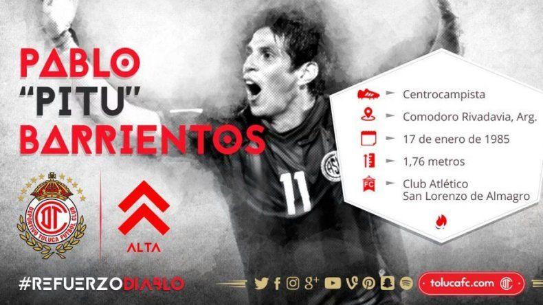 Pitu Barrientos es nuevo jugador del Toluca