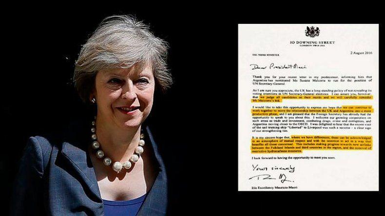 La carta de la primera ministra británica a Mauricio Macri