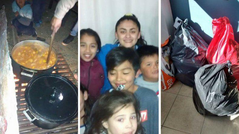 Comedor ambulante y fábrica de frazadas recicladas en Caleta Olivia