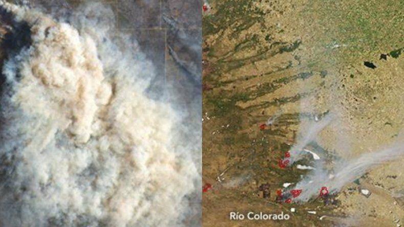 Impresionantes imágenes de la NASA de los incendios en Río Negro y La Pampa