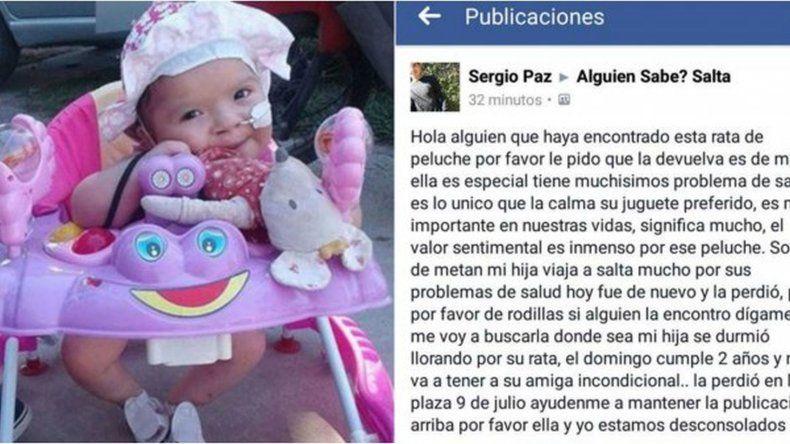 Ofrece $1.000 de recompensa por el osito de peluche que perdió su hija