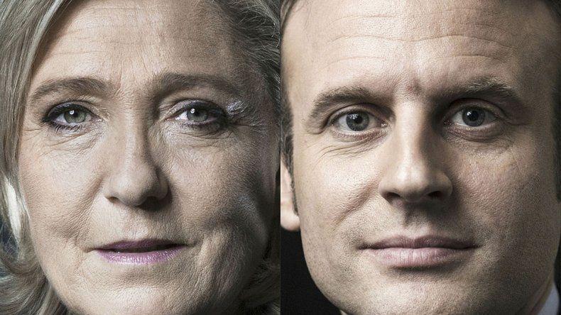 La ultraderechista Marine Le Pen y el candidato liberal Emmanuel Macron.