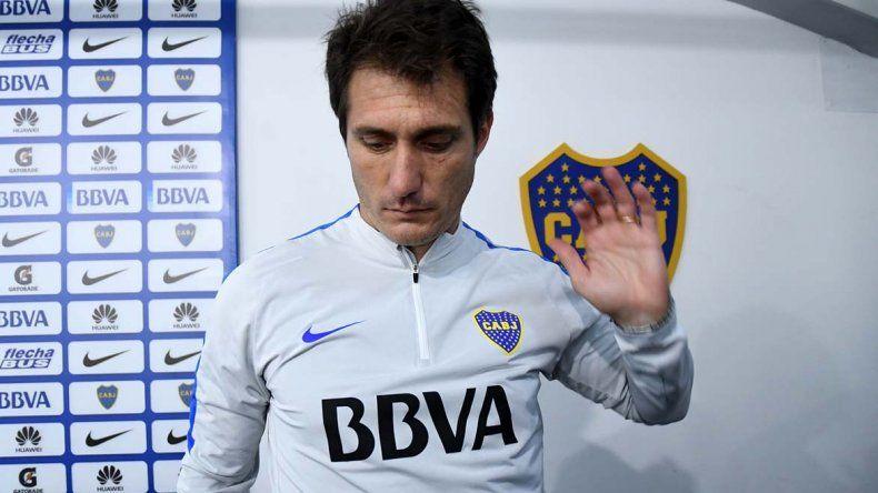 Guillermo Barros Schelotto durante la conferencia de prensa que brindó ayer con miras al difícil compromiso que Boca jugará mañana como local ante Newells.