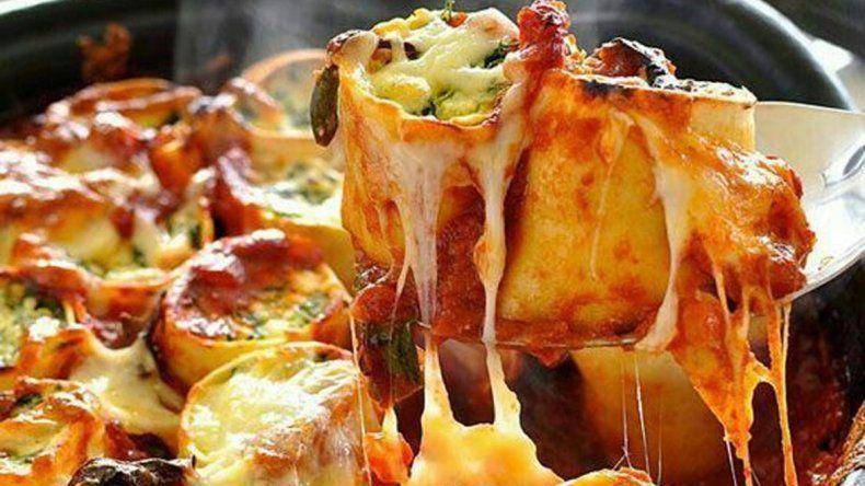 Rolls de espinaca y pollo