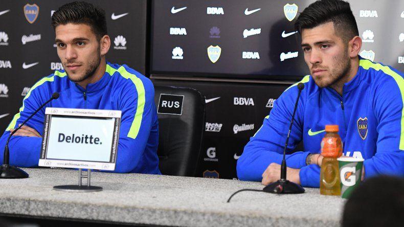Lisandro Magallán y Agustín Rossi durante la conferencia de prensa que brindaron ayer en el salón Antonio Carrizo de Casa Amarilla.