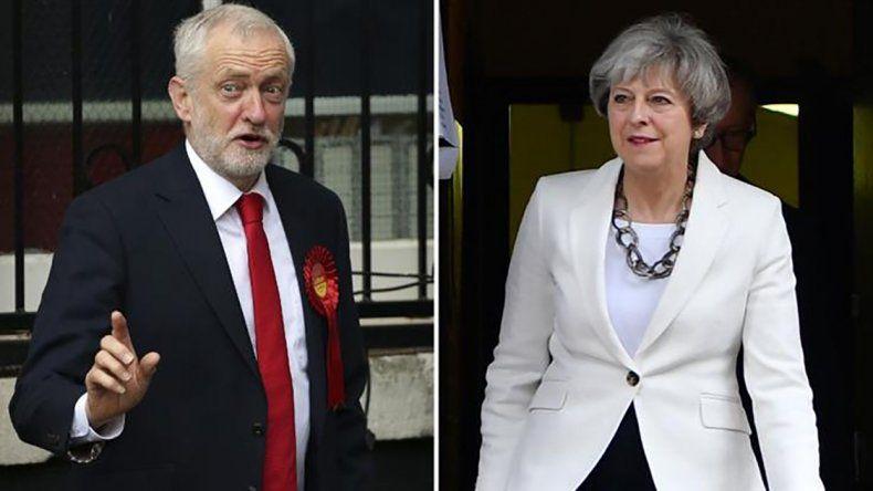 El candidato laborista Jeremy Corbyn y la primera ministra Theresa May.