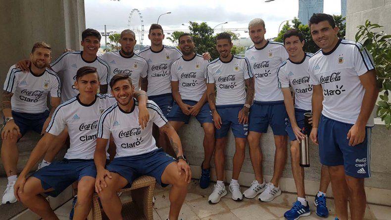 Los jugadores de la selección argentina de fútbol en un momento de relax.