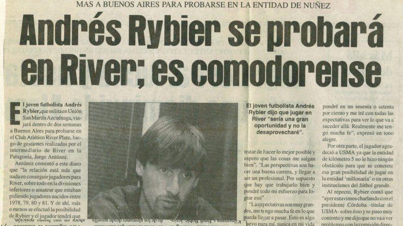 El recorte de El Patagonico cuando viajó a Buenos Aires para probar condiciones en River Plate.