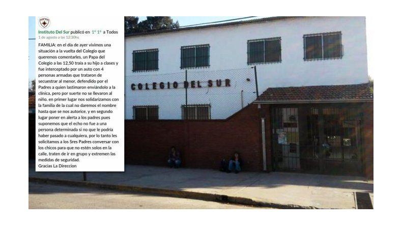 Intentaron secuestrar a un nene en la puerta del colegio