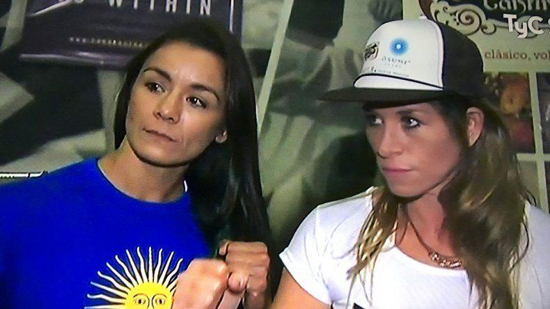 María Román y Carolina Duer luego del pesaje realizado ayer en Palermo.