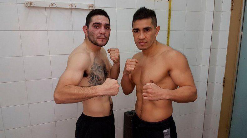 Héctor Saldivia –derecha– y Ricardo Villlalba luego del pesaje realizado ayer.