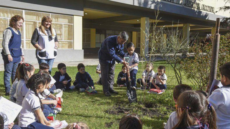 Los alumnos de primer año de la Escuela 1 plantaron un bambú en el patio de la institución para rescatar los valores del 9 de Julio.