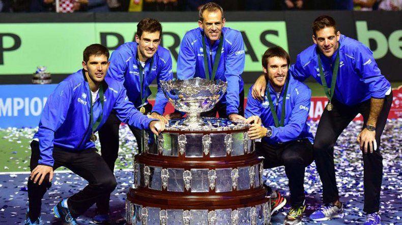 El equipo de Copa Davis que conquistó en 2016 su primer título. Ahora son otros tiempos y Argentina deberá jugar el repechaje con bajas importantes.
