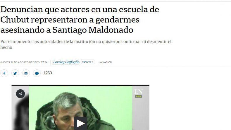 Desmienten nota de La Nación sobre una  teatralización escolar del caso Maldonado