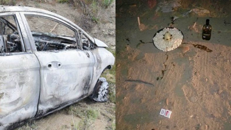 ¿Se fue de las manos un ritual y terminaron con el auto incendiado?