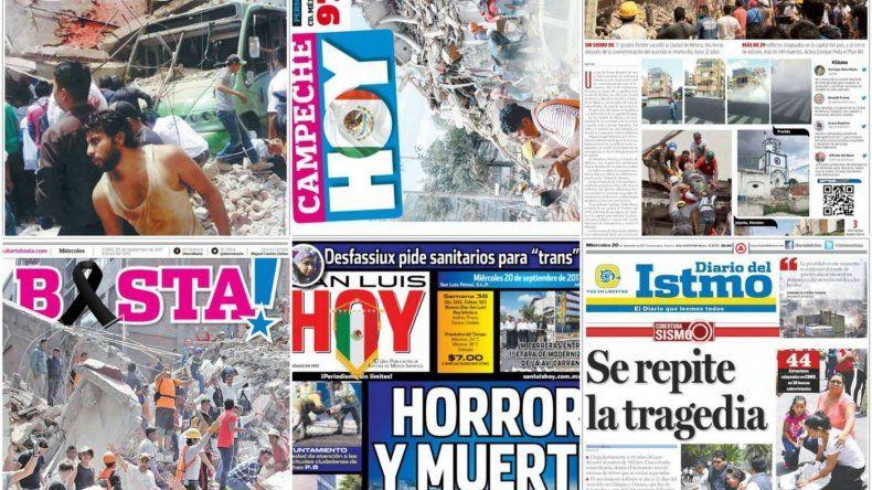 Los diarios de México muestran el dolor por el terremoto