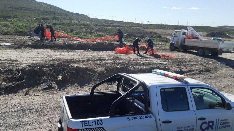La policía debió intervenir en el levantamiento de un asentamiento ilegal