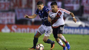 Gonzalo Martínez en el partido que River aplastó la noche del jueves a Jorge Wilstermann de Bolivia.