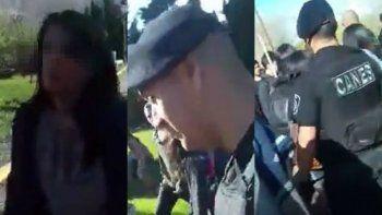 escracharon a un policia por agredir a una menor