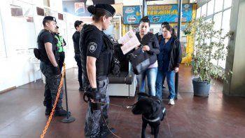 buscaron drogas y armas en la terminal