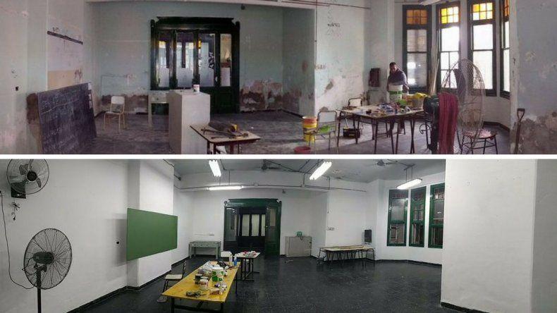 Estudiantes repararon una escuela durante la toma