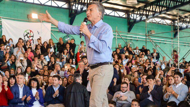 El presidente Mauricio Macri durante las actividades que desarrolló ayer en San Luis.