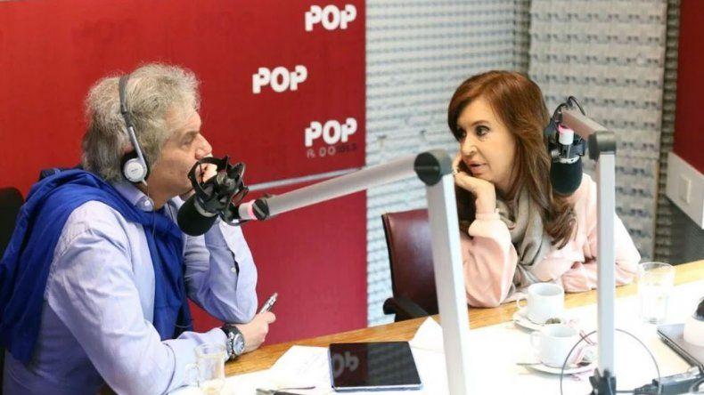 Cristina Fernández de Kirchner durante la entrevista que brindó al periodista Beto Casella.