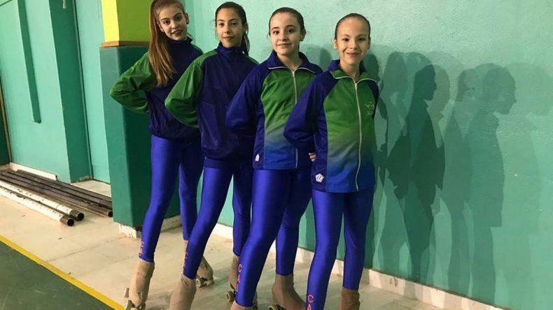 Las cuatro patinadoras de la CAI que esperan hacer un buen papel en San Juan.